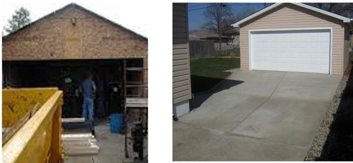 Before and After Garage Building
